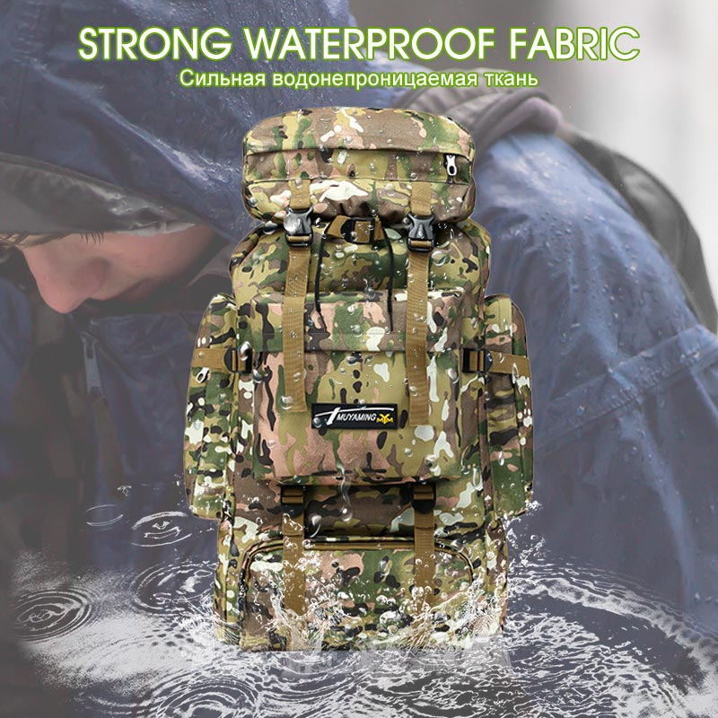 Military Men 70L Tactical Bag Mountaineering Backpack Outdoor Travel Climbing Backpack Waterproof Hunting Camping Rucksack Tas