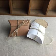 20pcs Small Pillow Gift Boxes Wedding Kraft Paper Box With Twine Candy box White Brown 9x6.5x2.5cm