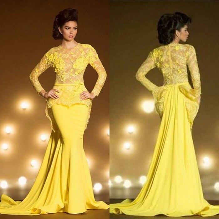 Мода желтый русалка вечерние платья 2016 длинные рукава аппликация кружева шифон мама Невесты Платье формальные вечера партии выпускного