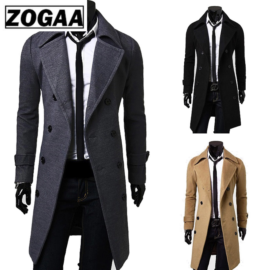 2018 New Geek Mens Wool Coat Jacket Double-breasted Mens Overcoat Long Sleeve Men Coat Winter Slim Solid Male Trench Coat(China)
