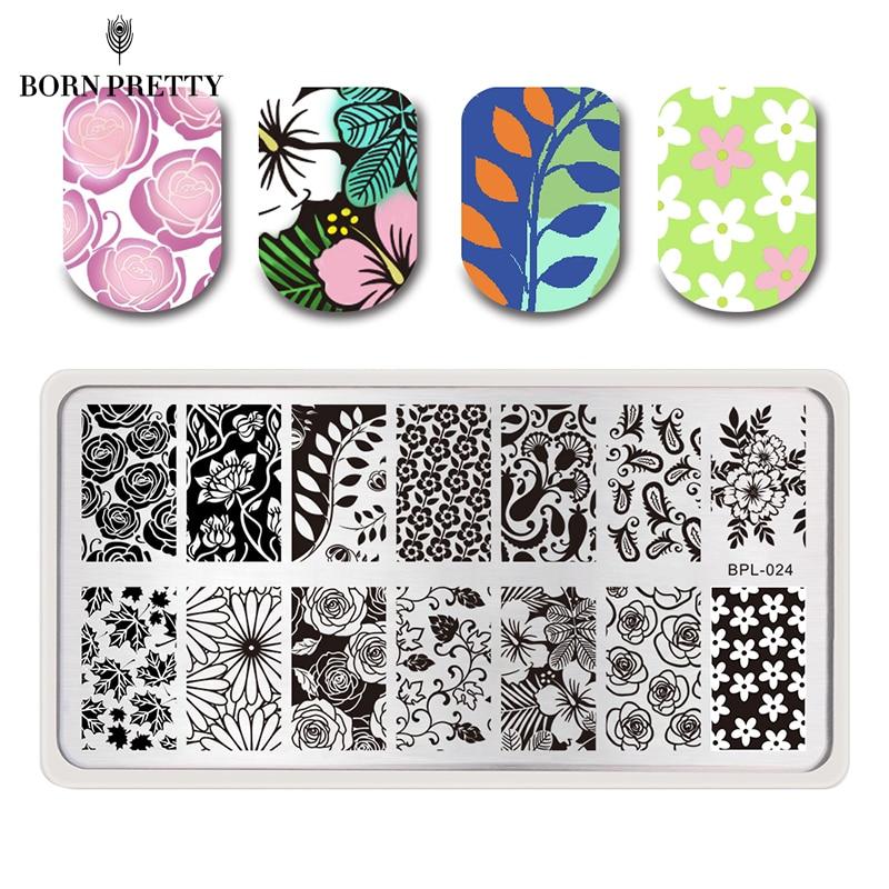 Flower Theme Nail Art Stamp Template Image Plate Rctangular Stamping PLates BORN PRETTY BP-L024 12.5 x 6.5cm