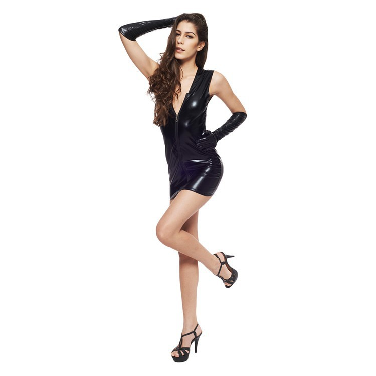 78503e63e6 US $13.49 |Sexy Black Wet Look Deep V Neck Micro Mini Dress with Gloves  Stripper Disco Rock Mistress Fetish Costume-in Sexy Costumes from Novelty &  ...