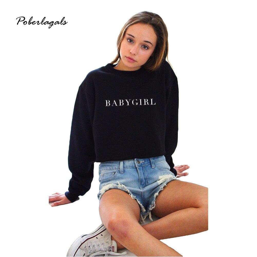 New 2016 BABYGIRL Black Women Hoodies Winter Casual Crewneck Printed Letters Sweatshirt Long Sleeve Womens Hoodies Pullover