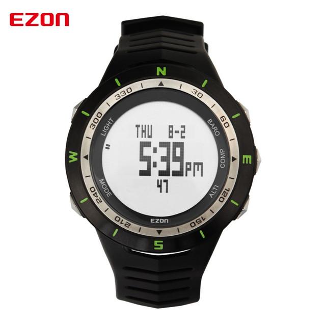 Os homens usam dispositivos inteligentes wearable EZON montanhismo esportes relógio de forma relógio à prova d' água eletrônico contador de dinheiro