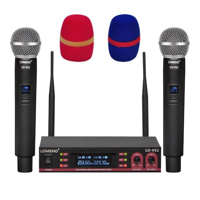 Lomeho LO V52 2 VHF metalowy ręczny nadajnik dynamiczny 2 kanały kościół konferencji Karaoke Party DJ mikrofon bezprzewodowy