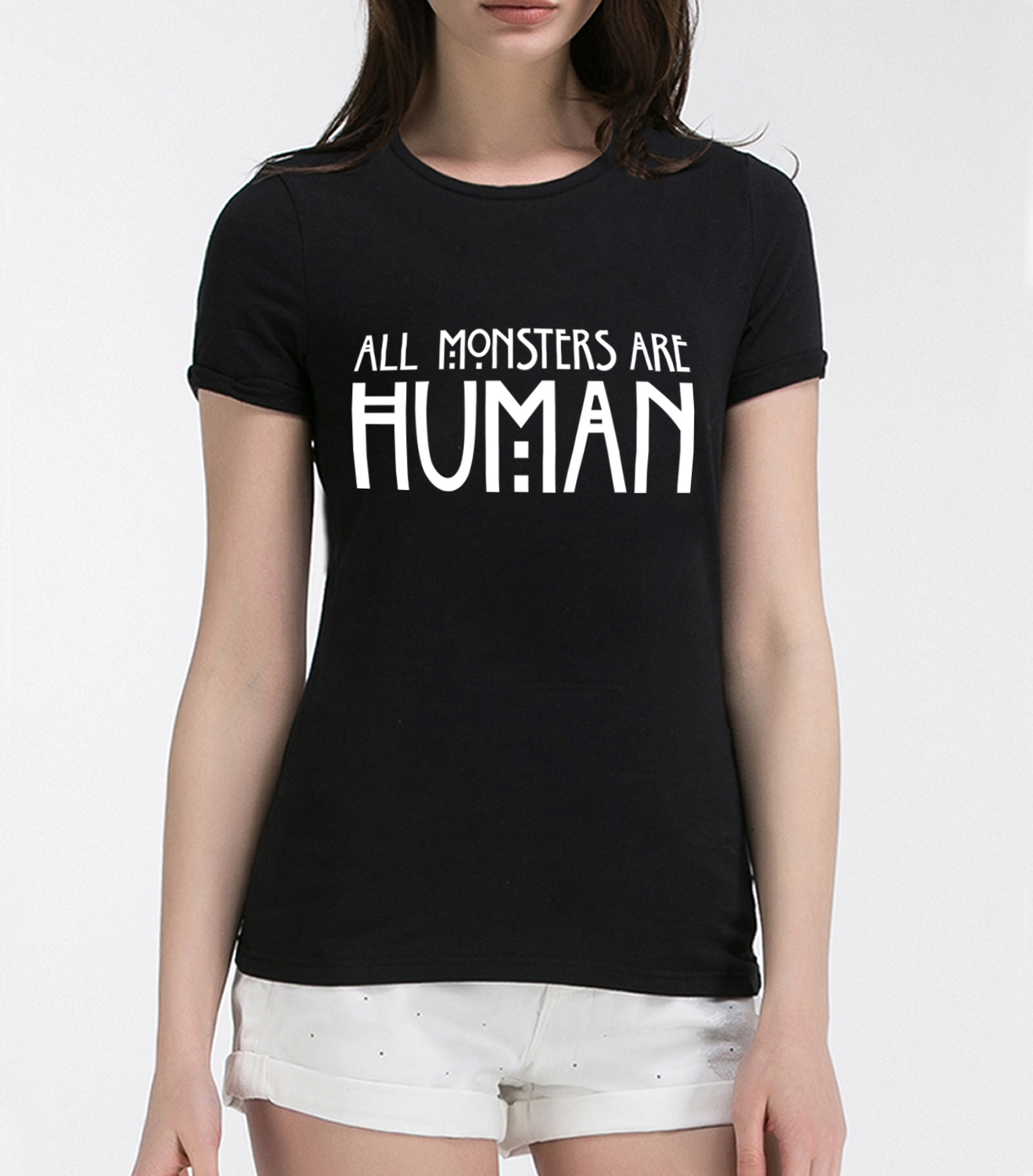 Black t shirt girl - 2016 All Monsters Are Human Women Black Cotton T Shirt Girl Tops Tee Shirt T