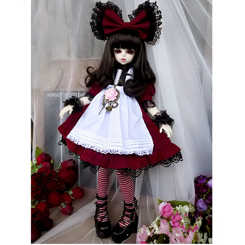 NEW 1/4 SD BJD Doll Clothes Include Dress, headdress and Stocking,BJD Clothes Dresses for Dolls 1/4,Fashion Doll Accessories 1 3rd 65cm bjd nude doll bianca bjd sd doll girl include face up not include clothes wig shoes and other access