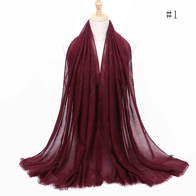 綿とリネン毛深いエッジシーズン無地やけどスカーフヒジャーブターバンファムイスラム教徒ドレススカーフ