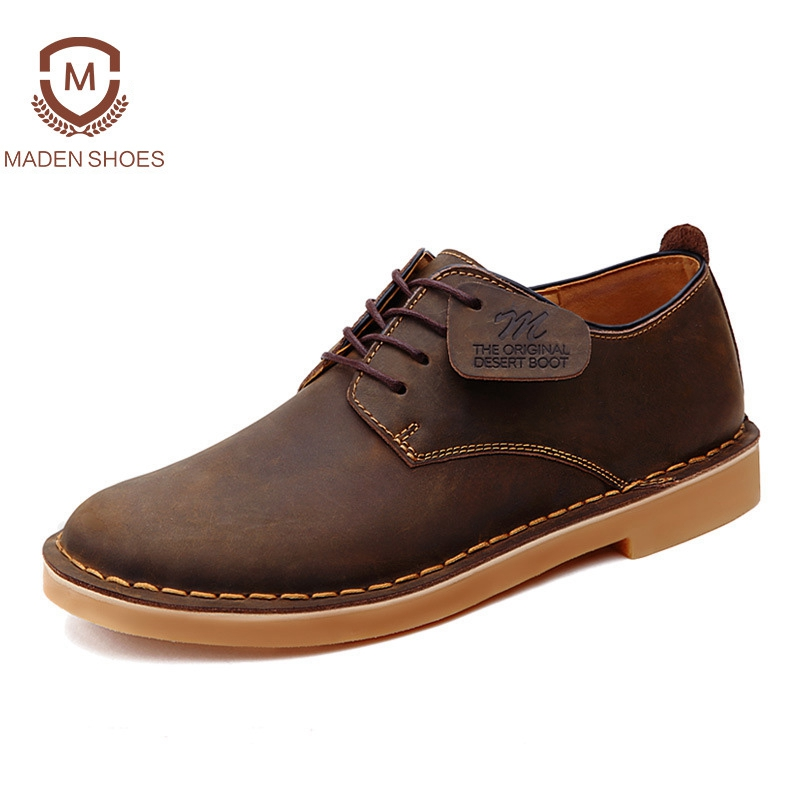 Maden 2018 Spring Summer Genuine Leather Men Casual Shoes Pure Handmade High Quality Male Footwear British Style Retro Shoes relikey brand men casual handmade shoes cow suede male oxfords spring high quality genuine leather flats classics dress shoes