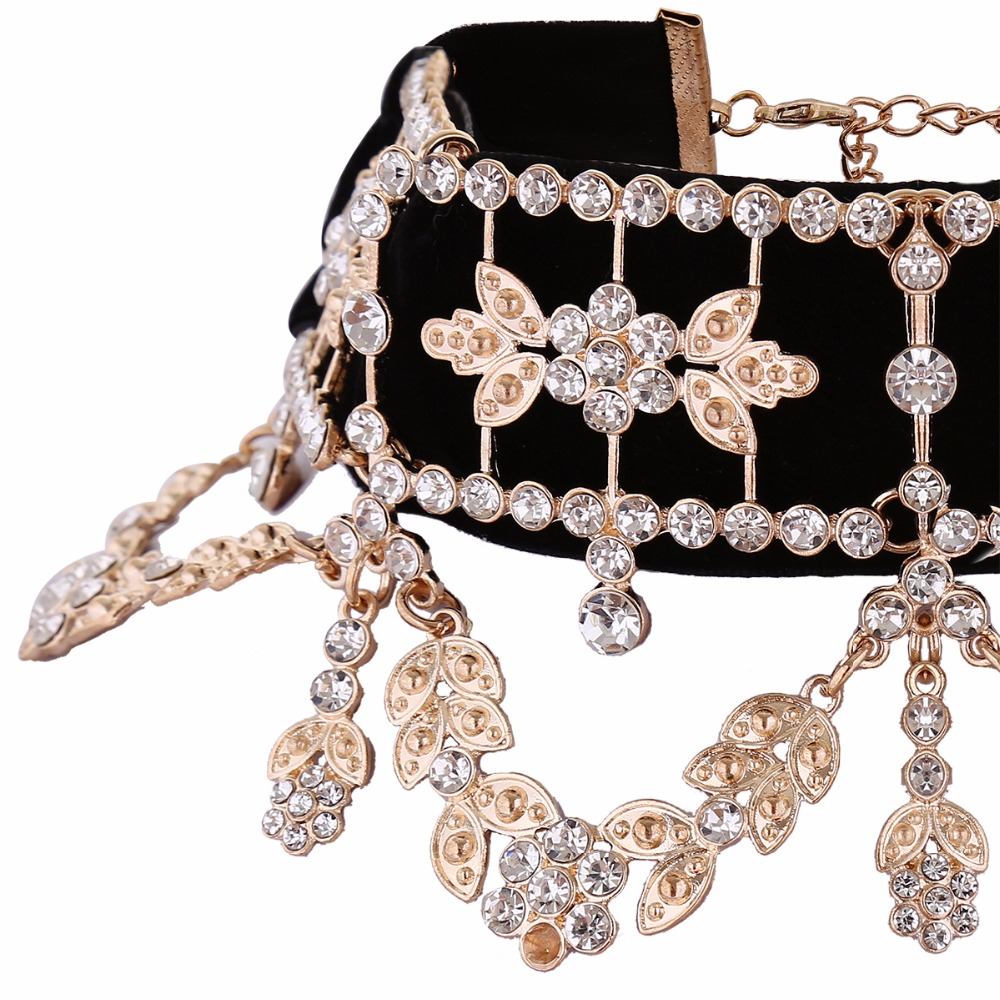 KMVEXO 2017 Fashion Crystal Rhinestone Choker Necklace Velvet Statement Necklace for Women Collares Chocker Jewelry Party Gift 10