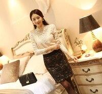 Free Shipping 2014 New Women S Spring Wild Openwork Lace Long Sleeved Shirt Slim Korean Version