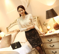 Free Shipping 2014 New Women S Spring Wild Openwork Lace Long Sleeved Shirt Slim Korean Version