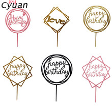 ФОТО cyuan happy birthday cupcake toppers kids birthday party cake flags acrylic birthday cake decorating supplies baby shower topper