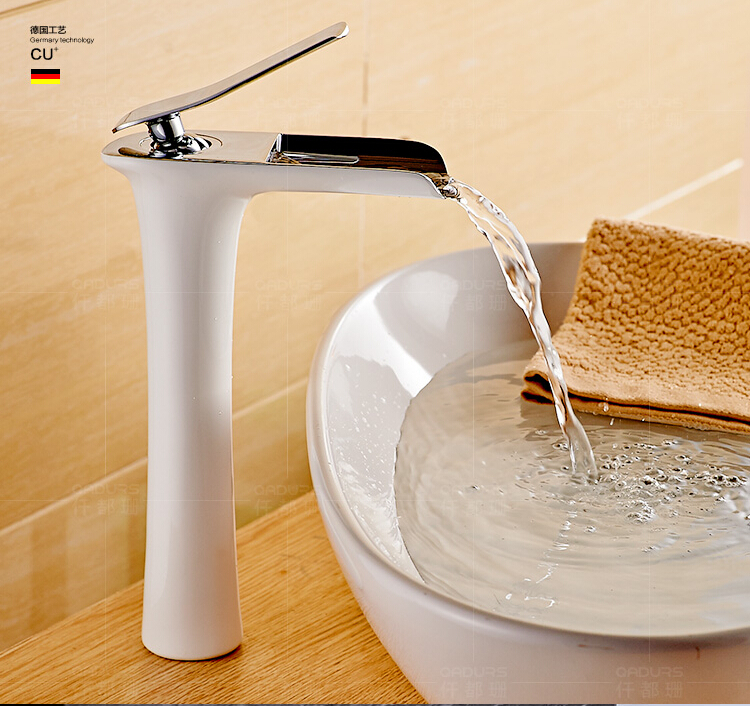 ФОТО fashion top high quality chrome and white brass single lever Hot and Cold bathroom high sink waterfall faucet basin tap