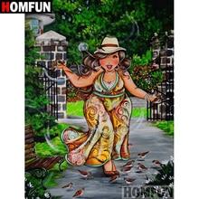 HOMFUN 5D DIY Diamond Painting Full Square/Round Drill Cartoon fat woman Embroidery Cross Stitch Mosaic Home Decor Gift A09446