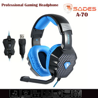 SADES A70 Wonderful Sound Effect Headphone Professional Over Ear Stereo Gaming Headset With Mic USB LED