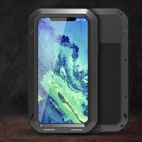 Heavy Duty Protection Case For IPhone 7 8 Plus X XR XS Mas Cover Metal Aluminum Shockproof Armor Phone Cases + Glass Screen Film