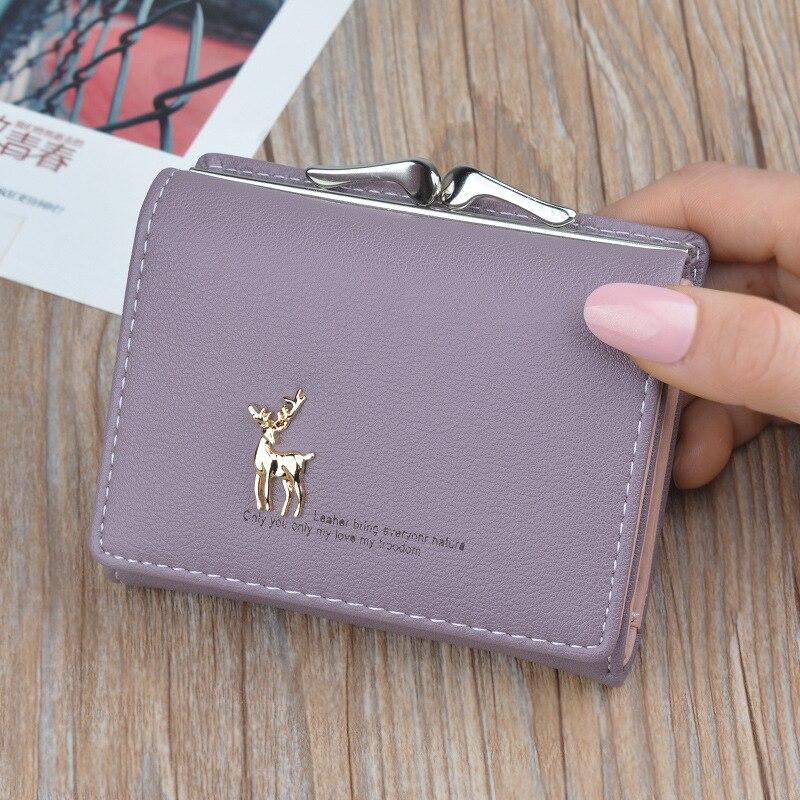 Cute Deer Women Mini Wallet Short Leather Wallet Girl Folding Wallets Clutch Pu Card Holder Ladies Purses Retro Portfel Damski