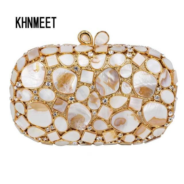 f219f3fa91 2017 Golden Shell Material Golden Clutch Party Purse Luxury Women Wedding  Bridal Prom Bag Female pochette Purse Evening Bag