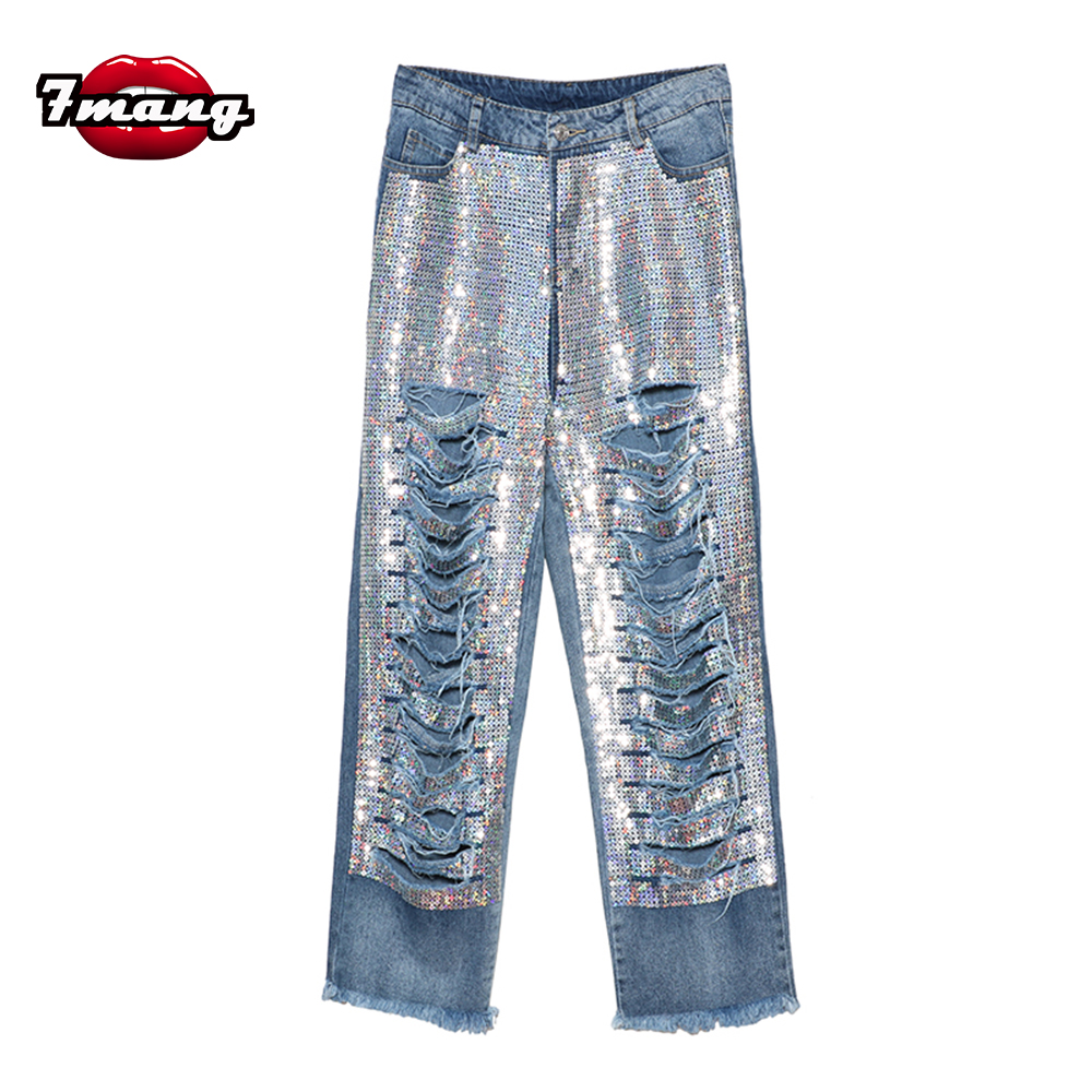 ФОТО 2017 new spring summer women novelty sexy punk sequins hole jeans high waist party loose jeans