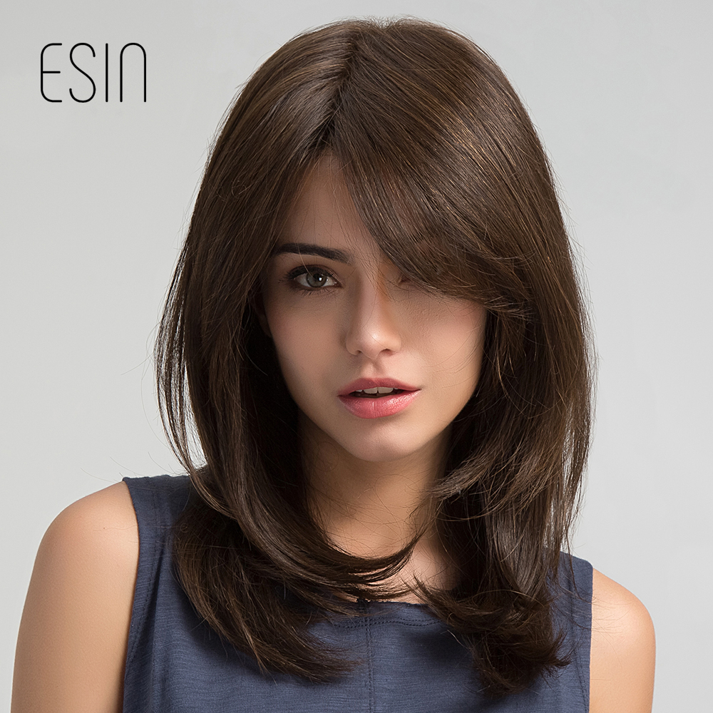 Esin Women Hair Wigs Ladies Party Daily Natural Wave Dark Brown Side Parting Synthetic None Lace Wigs with Bangs Free Shipping