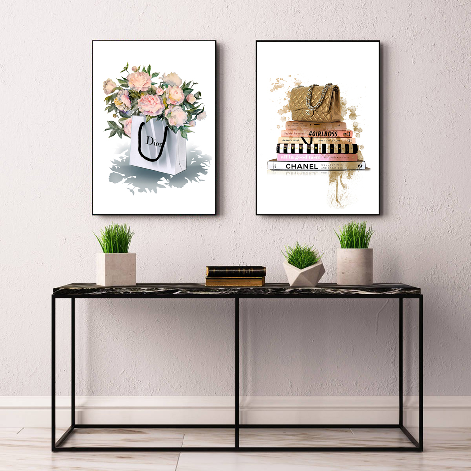 Modern Fashion Flower Bag Canvas Painting Vogue Book Posters and Prints Nordic Wall Art Pictures for Living Room Pop Print Decor