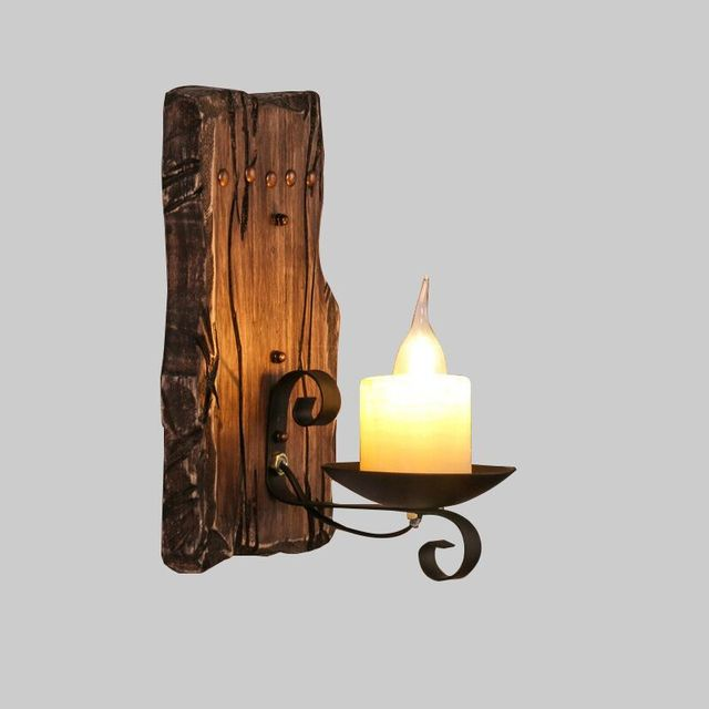 Hot retro industrial wall lamp old boat wood american country hot retro industrial wall lamp old boat wood american country nostalgia candle wall light for bar mozeypictures Images