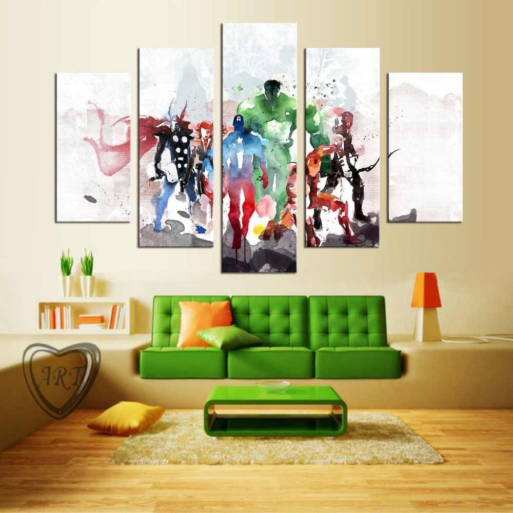 5 panel malowane streszczenie komiks obraz olejny na płótnie retro gwiazda filmowa zielony olbrzym amerykański super hero Avenger movie poster blejtram