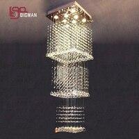 Top Sales Flush Mount L600 W600 H1800mm Home Modern Crystal Chandelier Lustre De Cristal Light Staircase