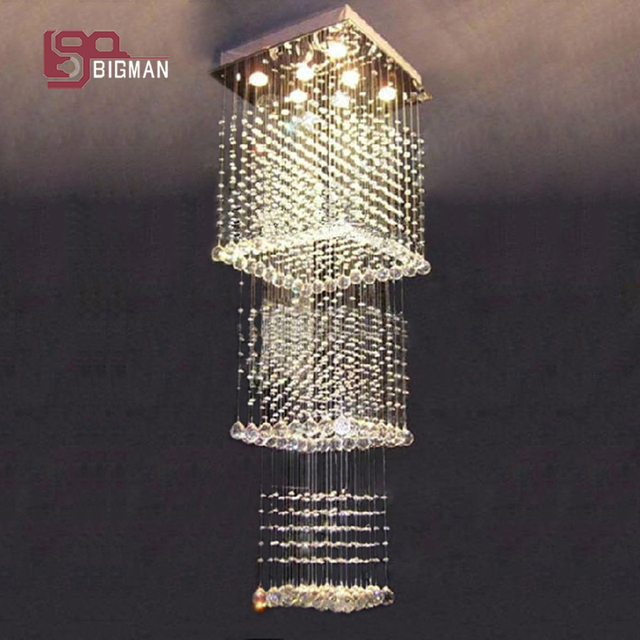 Modern Lighting Sale Lustres De Lamparas Crystal Square Chandelier LED  Light Stairway Chandeliers Free Shipping