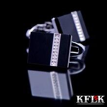 KFLK 2014 gemelos shirt cufflinks for mens Crystal cuff link Black abotoaduras Brand buttons Designer Jewelry