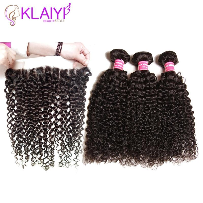 Klaiyi Hair Brazilian Curly Hair 13 * 4 Snörning Frontal Closure Med - Mänskligt hår (svart)