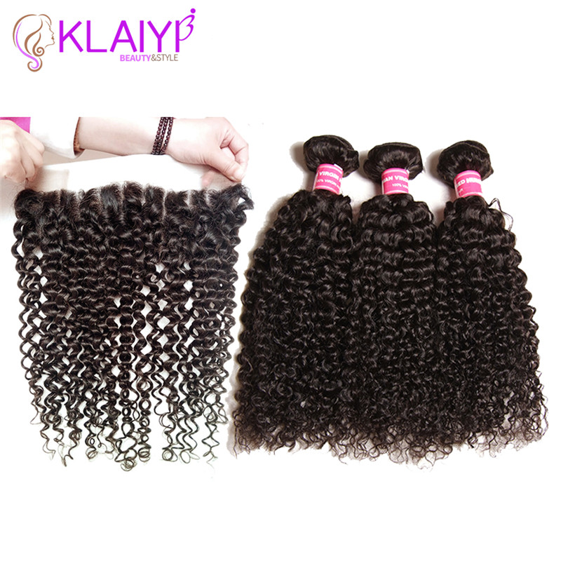 Klaiyi Rambut Brasil Keriting Rambut 13 * 4 Lace Frontal Penutupan - Rambut manusia (untuk hitam)
