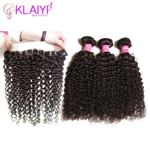 Klaiyi Hair Brazilian Curly Hair 13 * 4 Lace Frontal Closure With Bundles Remy Menneskehår 3 Bundle Med Frontal Closure