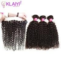Klaiyi Hair Brazilian Curly Hair 13 4 Lace Frontal Closure With Bundles Remy Human Hair 3