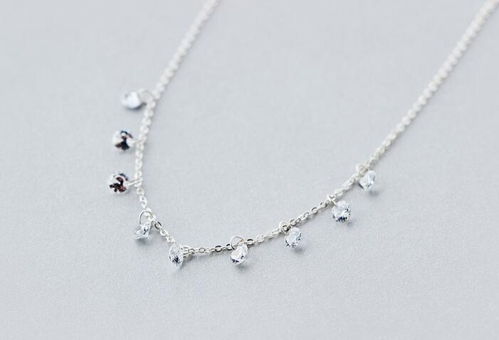 Real. 925 Sterling Silver Round crystals CZ AAA+ Pendant Statement station Necklace Sweet GTLX740