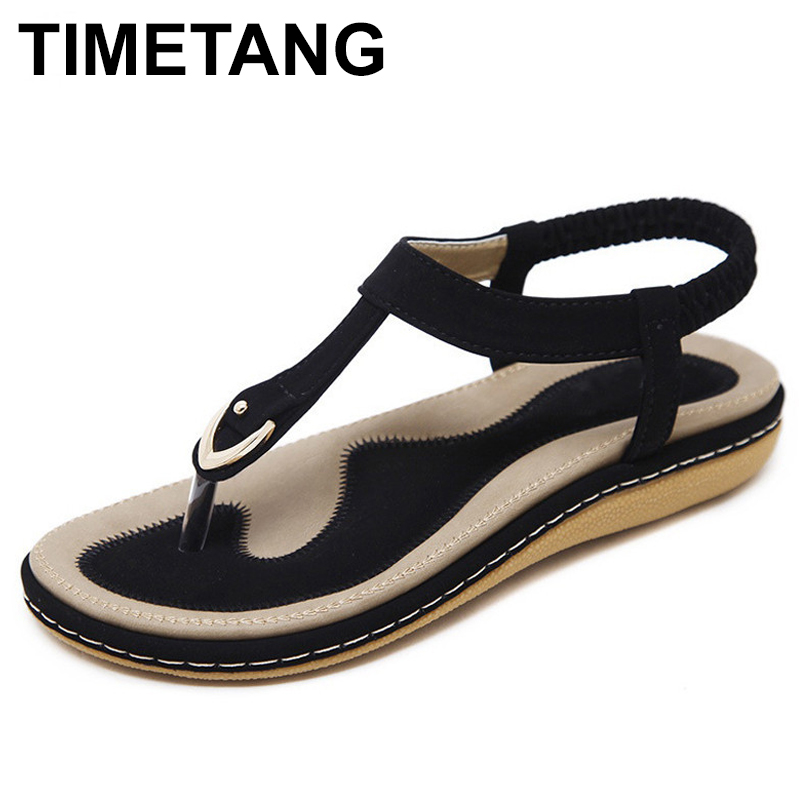 TIMETANG summer shoes women bohemia beach flip flops soft flat sandals woman casual comfortable plus size wedge sandals C065 plus size leisure beach espadrille wedge heel sandals