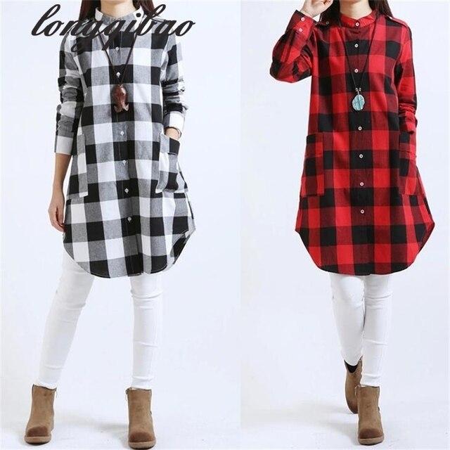 Camisa xadrez feminino camisa de manga comprida de linho 2017 primavera  nova versão Coreana do grande 758728054432b