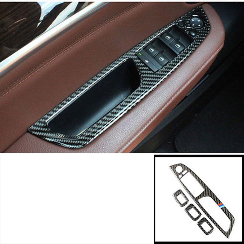 Lsrtw2017 en fibre de carbone de commande de fenêtre de voiture panneau garnitures pour bmw x5 x6 2006 2007 2008 2009 2010 2011 2012 2013 e70 e71