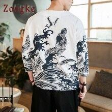 Zongke китайский стиль льняные футболки мужская футболка веселое Harajuku футболки мужская одежда с коротким рукавом летний топ 5XL