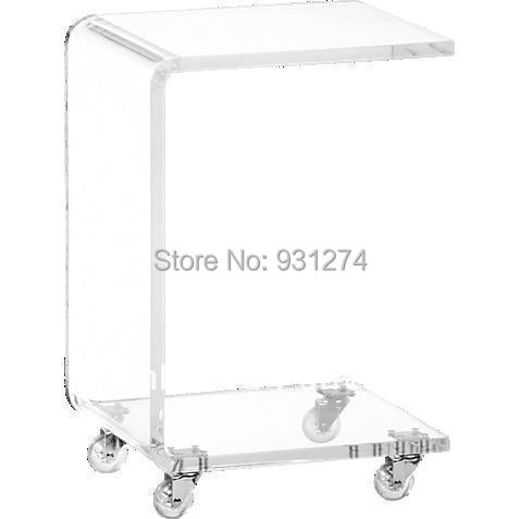 Free shipping acrylic coffee table with wheels for bedroom night stands Patio desk with rack for home furniture Office tea table factory wholesale european style rhino wood coffee table desk craft gift desk self build puzzle furniture free shipping