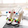 Mulheres Multicolorido Pom Pom Sandálias Boho Tornozelo Lace Up 11 CM de Salto Alto Gladiador Sandalias Con Pompones Sapatos De Sola de Borracha