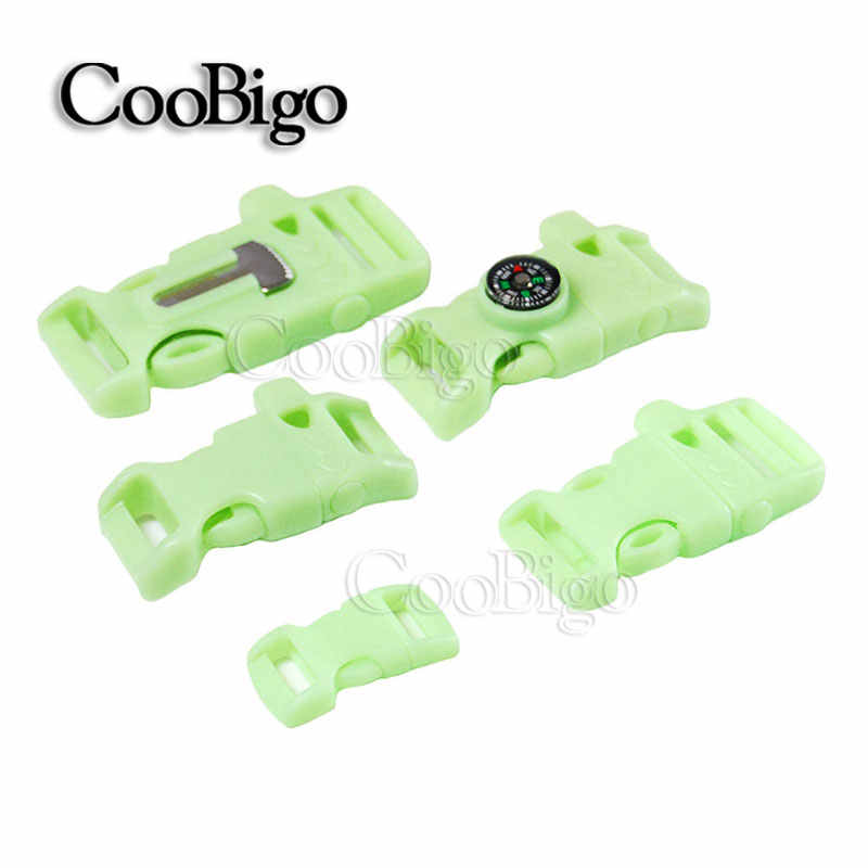 "5pcs Curved & Flat 3/8"" 5/8"" 3/4"" Side Release Buckle Whistle Glow In the Dark Parachute Cord 550 Paracord Bracelet Bag Parts"