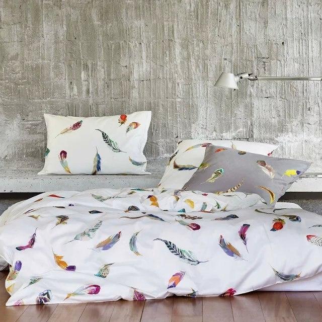 coton gyptien ensembles de literie feuilles plume housse de couette drap de lit dimpression - Housse De Couette Colore