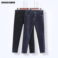 Plus Size 4XL 5XL Denim Women S Jeans 2017 Autumn New Large Size Blue Solid Elastic