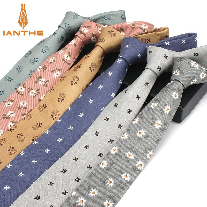 2018 Brand New Fashion Flower Printed Neck Ties For Men Casual Narrow Slim Tie Bridegroom Weeding Party Corbatas 6cm Necktie