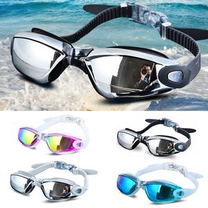 Electroplating Anti-UV Anti-fog Swimsuit Glasses Swimming Diving Adjustable Swimming Goggles Ladies Men Swimming Goggle Ear Plug(China)