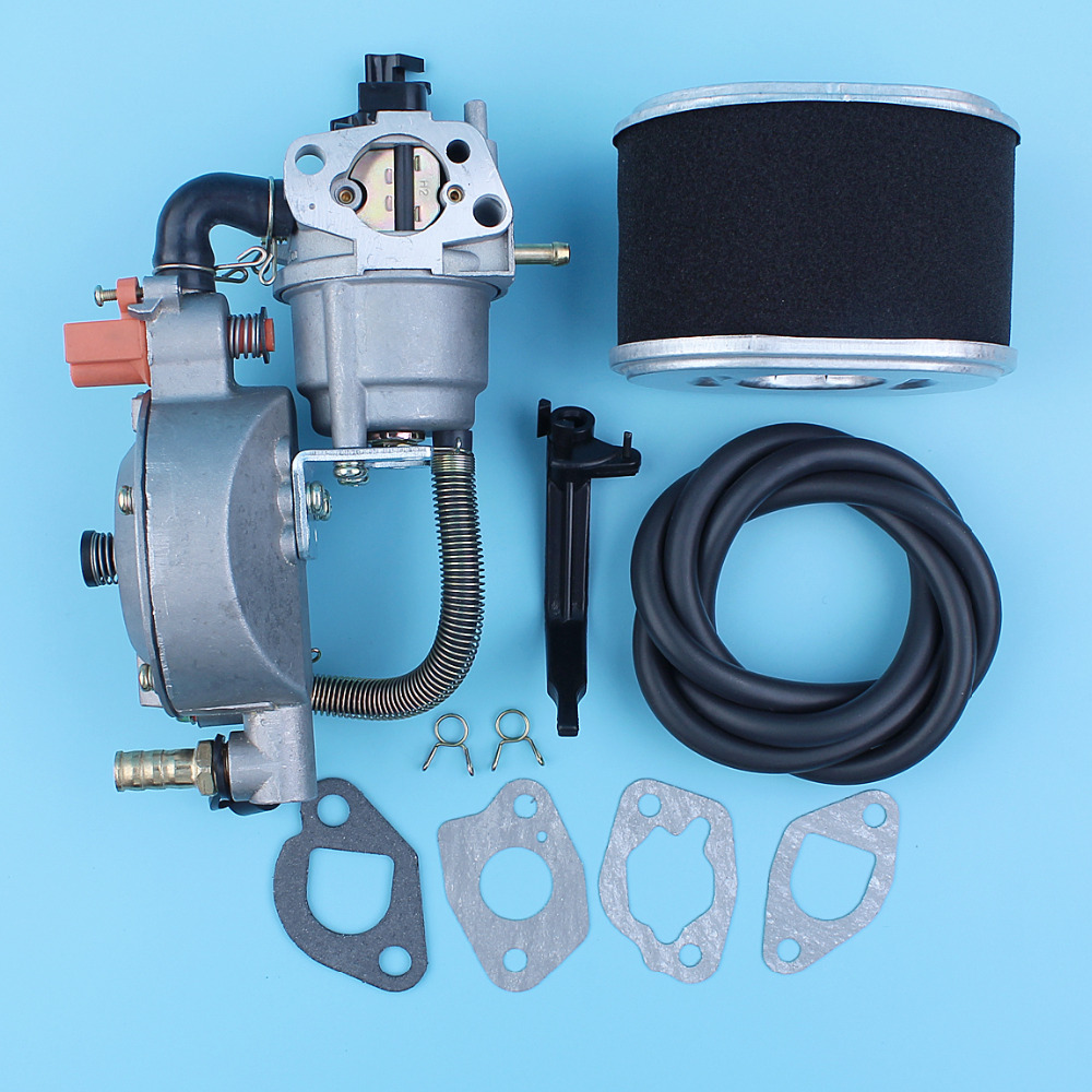 Dual Fuel Carburetor Carb Conversion Kit Air Filter Element For Honda GX160 168F 1KW to 6KW Generator LPG/NG Fuel Line Gaskets new design jiwannian lpg&cng carburetor three way conversion kit for gx160 gx200 engine petrol & liquefield dual fuel carburetor page 4