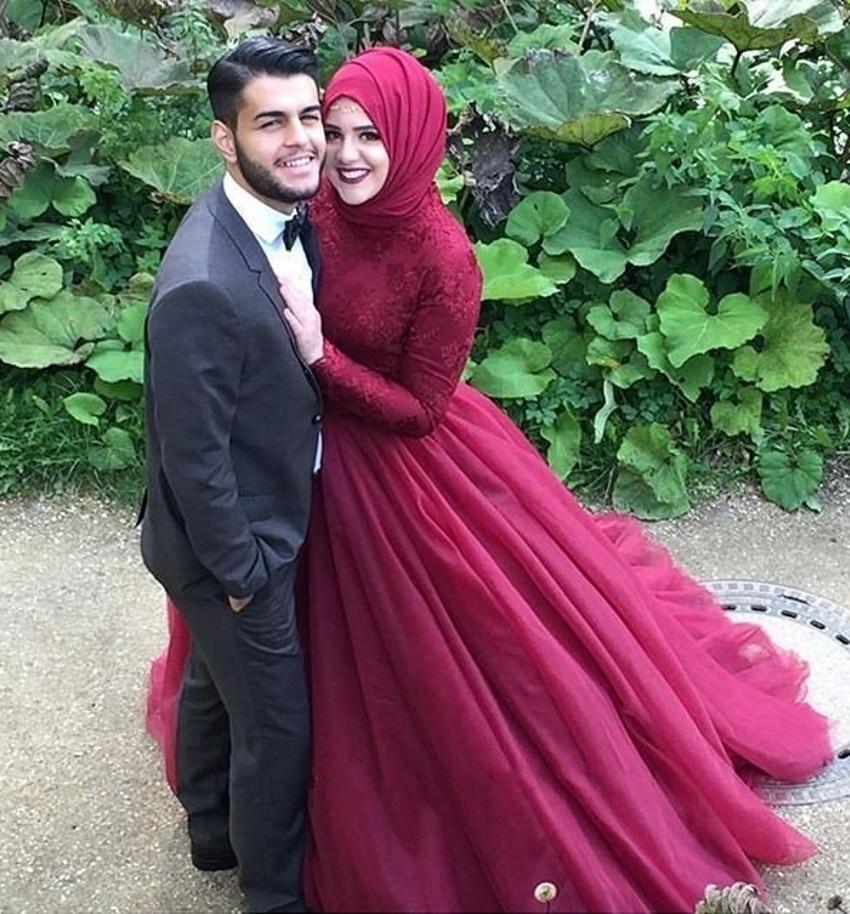 Elegant Long Sleeve Wedding Dresses Muslim Dress 2015: Aliexpress.com : Buy Elegant Dark Red Hijab Dubai Long