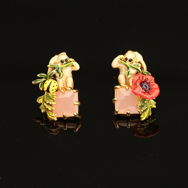 France Les Nereide Enamel Stud Earring For Lady Flowers Insect Gem Monkey Beautiful Romantic Jewelries Valentine 's Gift